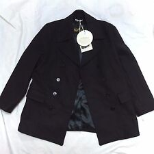 NEW GLOVERALL CHURCHILL NAVY WOOL MADE IN ENGLAND PEA COAT JACKET L LARGE