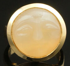 Rare Heavy Solid 14K Yellow Gold & Orange Moonstone Carved Moon Or Sun Face Ring