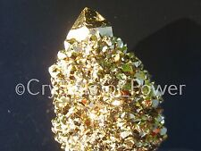 1 XL POWERFUL STARBRARY PURE 24KT GOLD AURA SPIRIT CACTUS QUARTZ CRYSTAL POINT!