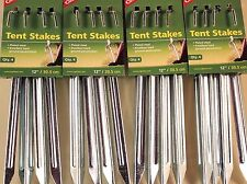 16 -12 INCH TENT STAKES, PLATED STEEL, EXCELLENT HARD GROUND PENETRATION!
