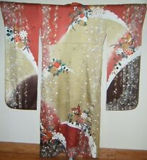 Vintage Burgundy Silk Japanese Furisode Kimono with Butterflies & Embroidery