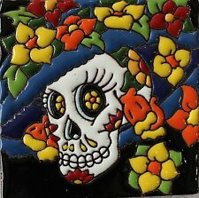 """One MEXICAN Hi Relief 4"""" Day of the Dead Catrina Talavera Tile DDT-20"""