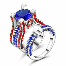 Multi-Color CZ Sapphire Wedding Ring Set Band Womens White Gold Filled Size 7