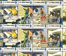 1973 - POSTAL EMPLOYEES - #1489-98 Mint -MNH- Sheet of 50 Postage Stamps