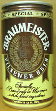 BRAUMEISTER PILSENER yellow & brown BEER CAN, Huber, Monroe, WISCONSIN 1982, 1+