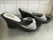 US DESIGNER Steve Madden Black & Silver Wedge Mules Sandals Size 9US 7UK CRUISE