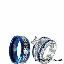 His Tungsten And Her Cz Blue S 3 Pcs Engagement Wedding Ring Set