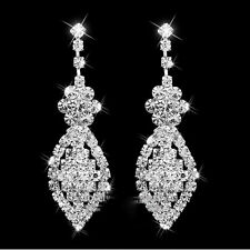 Long Crystal Drop Earrings Diamante Bridal Rhinestone Silver Dangle Chandelier