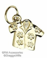 Hawaiian Flowered Shirt Charm Clothing, Handbags & Shoes Pendant 24k Gold Plated