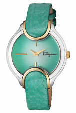 Ferragamo Women's FIZ110015 Signature Gold IP Steel Green Leather Wristwatch