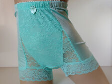Silky Aqua Marine High Waist Full Pinup Style Panties Light Control Knickers M