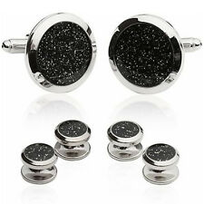 Black Diamond Dust Cufflinks Tuxedo Cuff Links and Studs Set