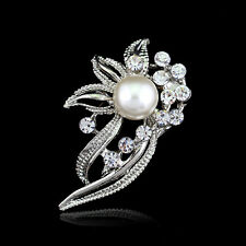 Chic Bridal Bouquet Rhinestone Crystal Brooch Pin Silver Pearl Brooches Flower