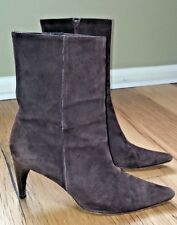 """Banana Republic Ankle Boots  Brown Suede Leather 3 1/2"""" Heel Women's Size 10 M"""