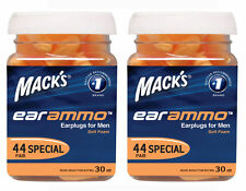 MACKS EAR AMMO EARPLUGS for Shooting Shotgun Clay 30dB 44 Pair Jar TWIN PACK