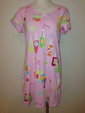 NICK AND NORA Pajama Shirt Night Gown Pink Soda Bottles Short Sleeve Cotton S