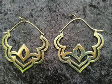 Large Lotus Brass Earrings with cut out design - Boho,Ethnic,Gypsy,Tribal