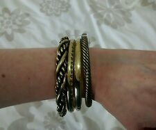 ASOS Set Of 4 Gold Plated Assorted Bangles BNWOT (Still In Bag)