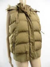 FAT FACE LADIES BROWN CAULK QUILTED GILET FUR LINED HOOD SIZE 14   NOV8