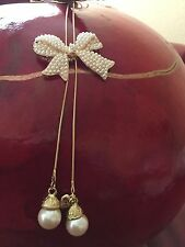 Huge Betsey Johnson Faux Pearl Bow Pendant