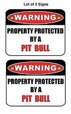 "2 Count ""Warning Property Protected by a Pit Bull"" Laminated Dog Sign w/Decal"