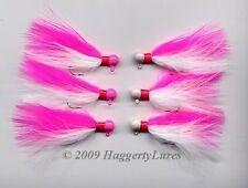 6 UV coated Marabou Jigs Walleye Crappie trout steelhead Ice panfish Pink