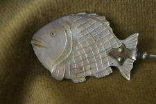 """Vintage Hand Carved Mother-of-Pearl Fish Shaped Caviar Spoon w/Silver Handle 5"""""""