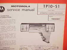 1972 MOTOROLA CAR AUTO 4 CHANNEL QUAD 8-TRACK TAPE PLAYER SERVICE MANUAL TM920S1