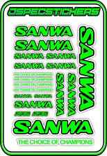 SANWA RC RADIO CONTROL STICKERS MT4 M12 SERVO RX TX CAR BUGGY NITRO GREEN BLACK