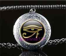 Gold Eye Of Ra Photo Cabochon Glass Tibet Silver Locket Pendant Necklace