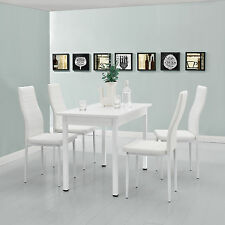 [en.casa] Dining Table with 4 Chairs white 120x60cm Kitchen room