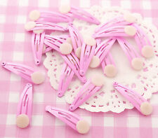 10 x Mini Plain Pink Hair Clip Grip Blanks DIY Accessories Childrens Craft Kawai