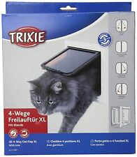 Trixie Pet Products 4 Way XL Plastic Cat Door with Tunnel white