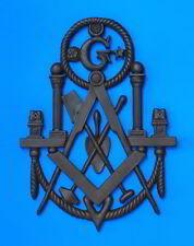 "Masonic Plaque 12""x18"" Emblem Resin Cold/Cast Resin Iron patina Lodge Decor"