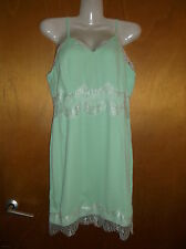 "Missguided Strappy Fully Lined Dress w/Lace Detail UK 8 L35"" Mint Mix BNWT"