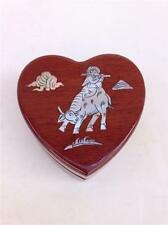 Beautiful Small Mother of Pearl Inlay Heart Shaped Wood Display Ring Box Holder