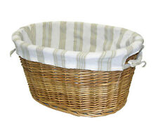 2pc Oval Willow Storage Organizer Baskets Set w/ Cloth Liner NIB