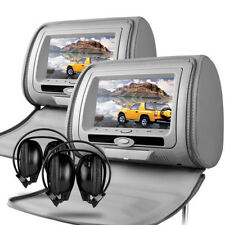 "GRIGIO UNIVERSALE 7 ""leather-style Dvd Auto Poggiatesta con hd-screen / SD / USB / GIOCHI"