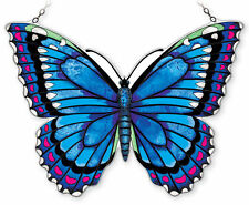 """AMIA STAINED GLASS 18.5"""" X 12"""" BLUE MORPHO BUTTERFLY LARGE WINDOW PANEL #42343"""