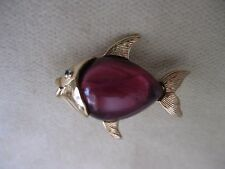 CAROLEE Goldtone Jelly Belly Fish Pin - Signed