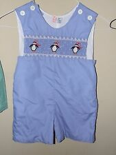Orient Express 3T Smocked Penguin Jon Jon Romper Blue Winter Snow Shortall