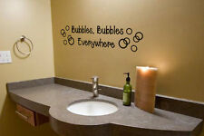 BUBBLES EVERYWHERE Bathroom Bath Vinyl Wall Decal Words Lettering Sticker Decor