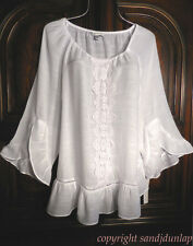 NEW ~SNOW WHITE~ Lace Trimmed ~Ruffle Sleeves ~Peasant Top Boho Blouse Tunic ~XL