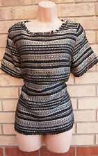DARLING BLACK SILVER GOLD STRIPE PARTY FRINGED TASSEL BLOUSE TOP TUNIC CAMI L