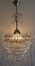 Antique French Basket Style Brass & Crystals Chandelier
