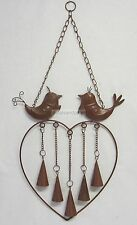 Wind Chime Heart, 2 Birds & 5 Bells Metal Windchime Mobile in Brown Finish BR614