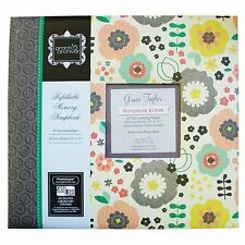 "SALE Eclectic Emerald Flowers Large 12"" Scrapbook Memory Photo Album 12x12"