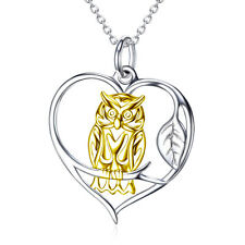 """Gold Owl Perching On Branch Love Heart Necklace 18"""" Pendant 925 Sterling Silver"""