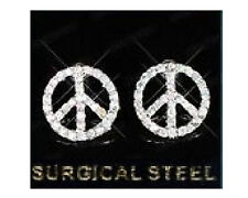 Peace sign pierced earrings made with surgical steel brand new