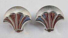 Vintage SILVER TONE Fan Design CLIP Earrings U6